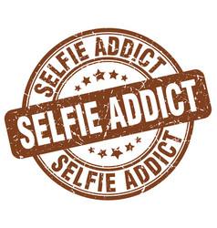 Selfie addict brown grunge stamp vector