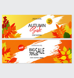 Set of autumn banners with leaves wallpaper vector