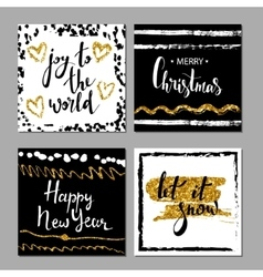 Set of Merry Christmas and Happy New Year card vector image vector image