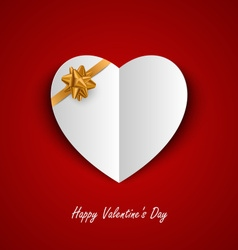 Valentine card with paper hearts and ribbon vector image