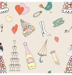 Wedding seamless pattern with cute hand drawn vector image