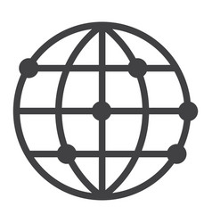 worldwide line icon globe and website vector image