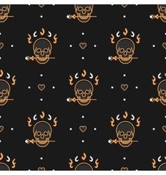 Seamless pattern art deco elegant gold skull vector