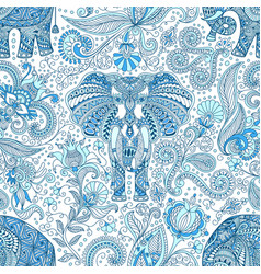 Seamless pattern with blue indian elephant vector