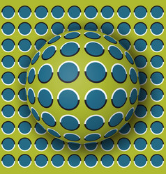 polka dot ball rolling along the polka dot surface vector image