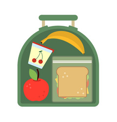 lunchbox with food meal apple and sandwich vector image