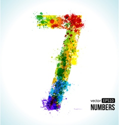 Color paint splashes Gradient Number 7 vector image