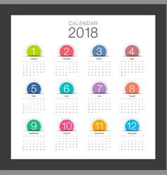 2018 calendar minimal desk calendar colorful vector image vector image