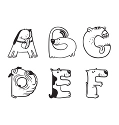 Alphabet from a to f vector