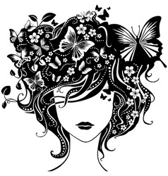 Abstract girl with butterflies in hair vector