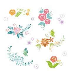 Flower borders elements vector