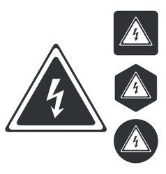 High voltage icon set monochrome vector