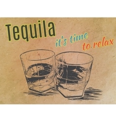 Tequila in glasses on paper background engraved vector