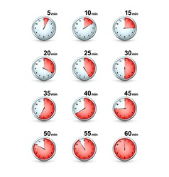 Set of red timer icons different time interval vector