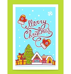 Christmas house with hand written text on vector
