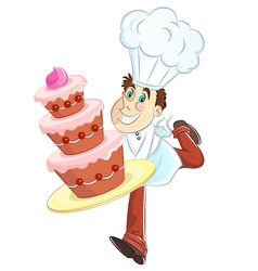 Baker and cake vector