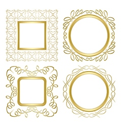 Golden ornamental frames with gradient vector