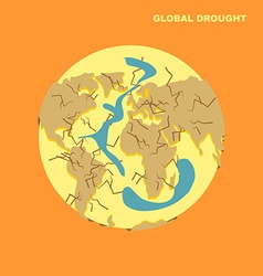 Drought on planet earth natural disaster-dried vector