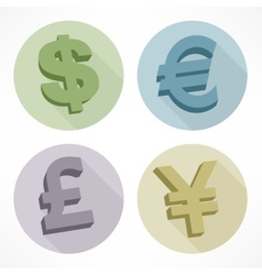 Money color signs dollar euro pond vector image