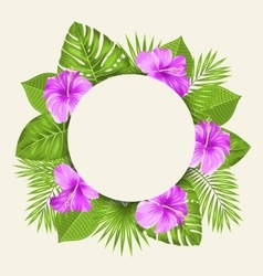 Flowers and Green Tropical Leaves vector image