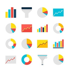 Business analysis graph and chart flat objects set vector