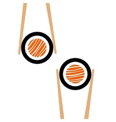 Chopsticks hholding sushi roll frame vector