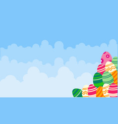 Background easter egg and cloud landscape vector