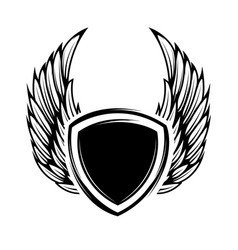 blank emblem with wings isolated on white vector image vector image