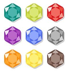 Cartoon hexagon gems icons set vector image