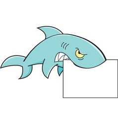 Cartoon shark holding a sign vector
