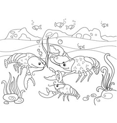 Childrens cartoon family of crayfish on the bottom vector