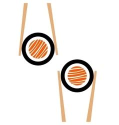 Chopsticks hholding sushi roll frame vector