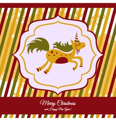 Christmas card with a cute horse vector