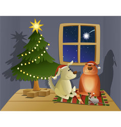 Christmas friendly pets vector image vector image