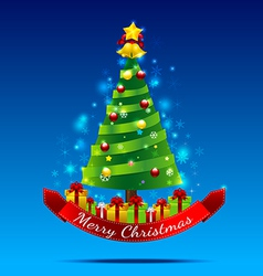 Christmas tree on the dark blue background vector image vector image