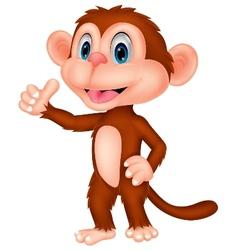 Cute monkey cartoon with thumb up vector image