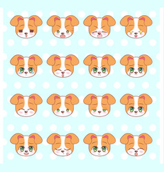 Emoticons emoji smiley set colorful sweet kitty vector