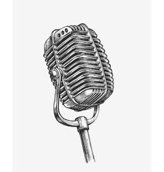 Hand-drawn vintage microphone sketch karaoke vector