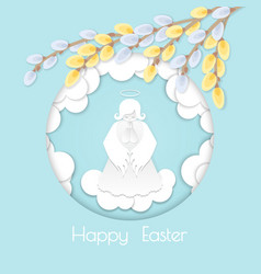 happy easter card with willow branches vector image vector image