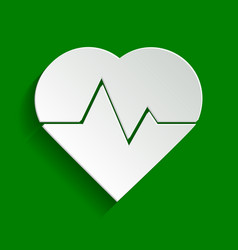 Heartbeat sign paper whitish vector