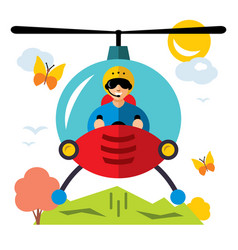 Helicopter pilot flat style colorful vector