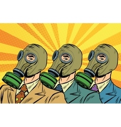 People in gas masks sots art style vector