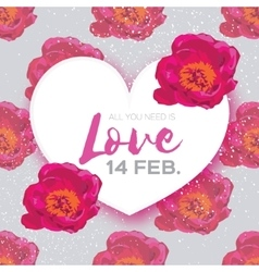 Pink Peony Flowers Heart frame 14 february vector image vector image