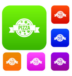 pizza label with ribbon set color collection vector image vector image