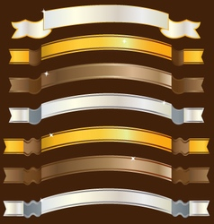 Ribbons gold copper silver vector image vector image