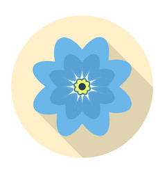 round blue flower icon on a yellow background vector image vector image
