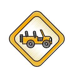 Safari signal road jeep car transport vector