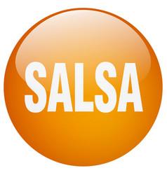 Salsa orange round gel isolated push button vector