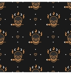 Seamless pattern art deco elegant gold skull vector