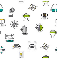 Seamless pattern with vr icons vector
